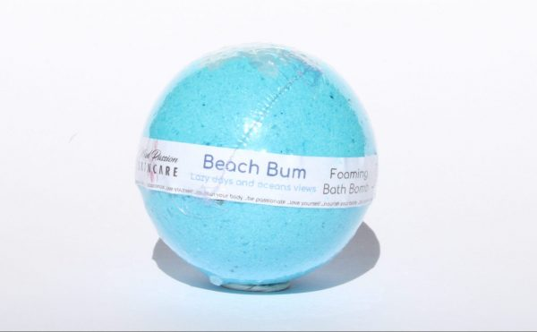 """<span style=""""font-weight: 400;"""">Beach Bum Bath Bomb is a gorgeous blue bomb with a cap of pure rock salt encapsulates the feel of coastal roads, ocean views and summer holidays, blending wild freesia, fresh lime, and lavender.</span>  <span style=""""font-weight: 400;"""">All of our Bath Bombs are hand mixed and hand-formed. No machines</span>"""